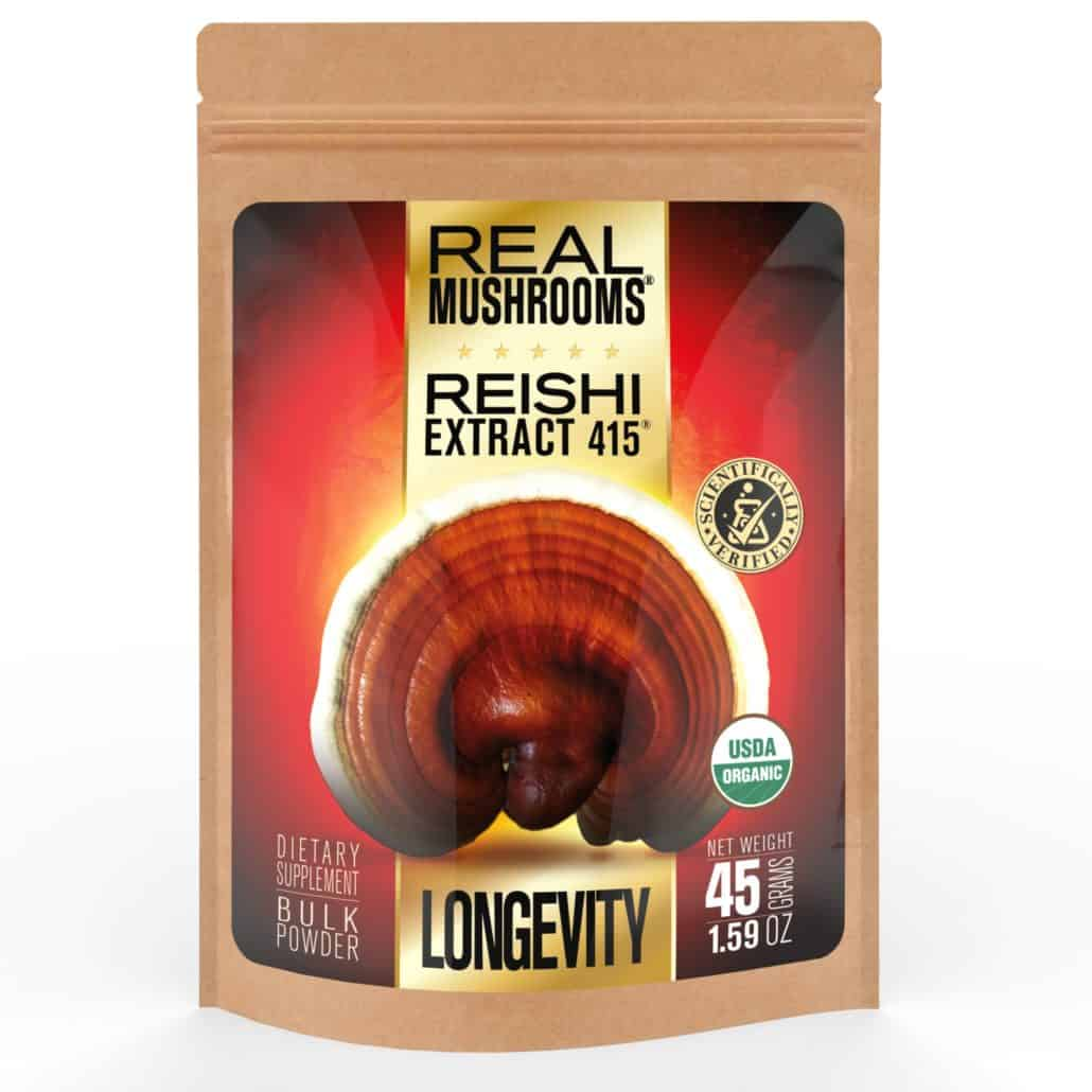 Real Mushrooms Reishi 415 Extract - 45 Grams Front Panel
