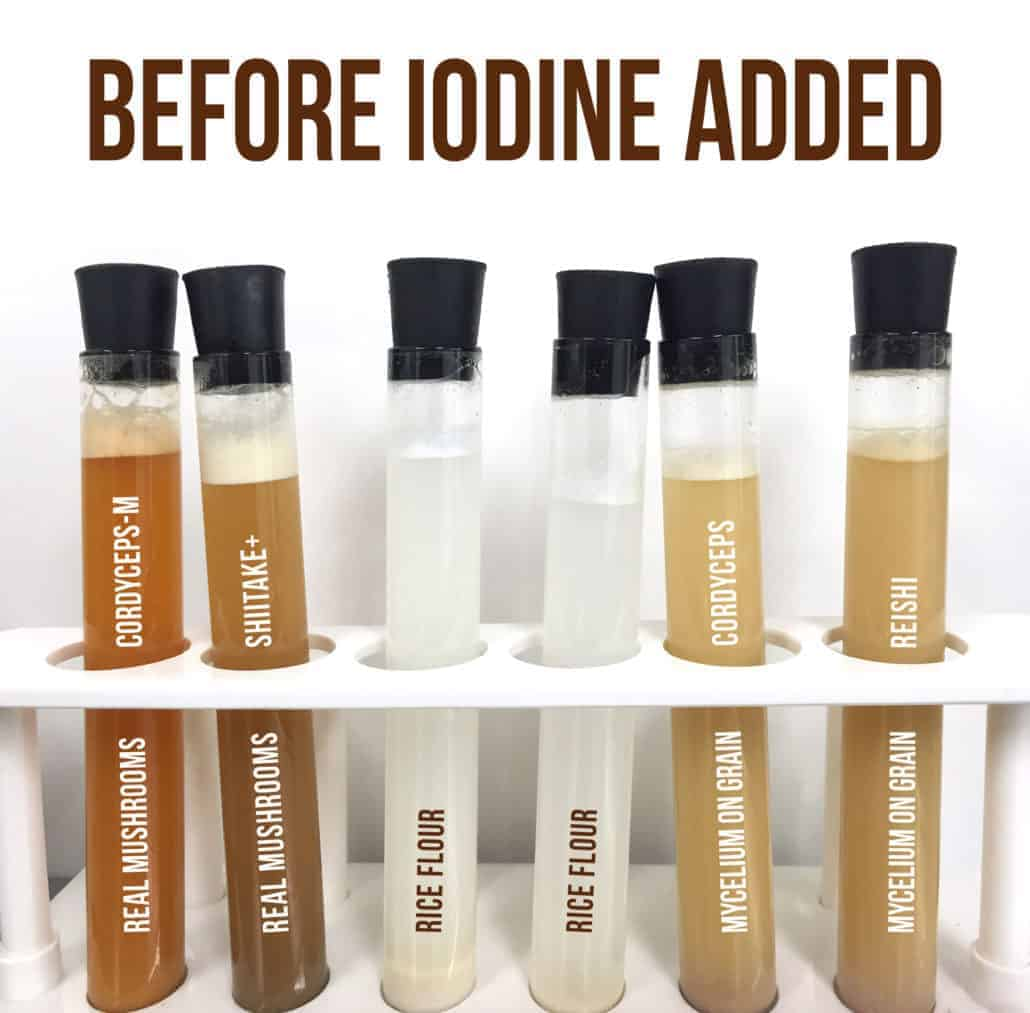 Iodine Starch Test on Mushroom Products - Before Iodine