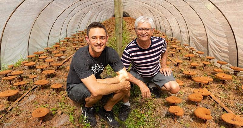 Skye & Jeff at an organic mushroom farm in China