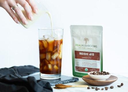 Making Iced Coffee with Mushroom Extract