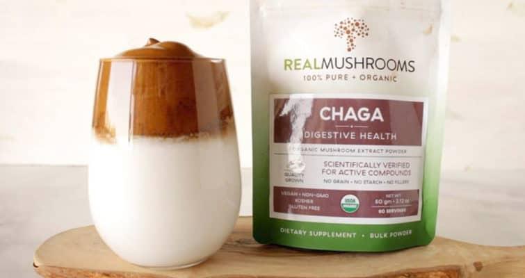 Dalgona Mushroom Coffee with Chaga powder