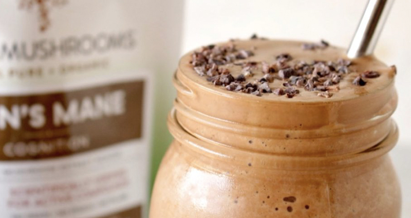 healthy chocolate frosty with mushrooms