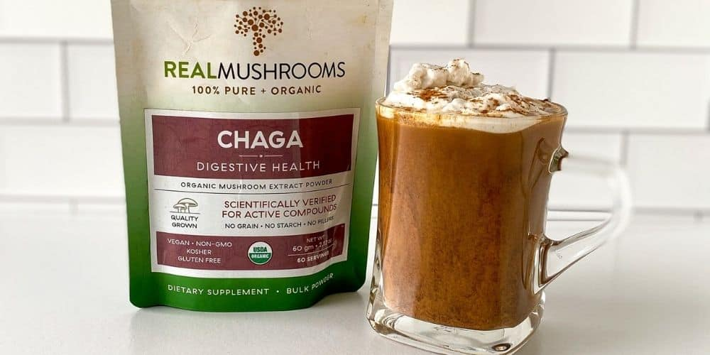 healthy chai latte with mushrooms